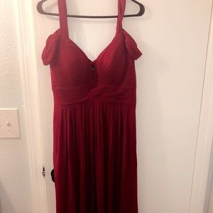 Ocean of Elegance Wine Red Maxi Dress